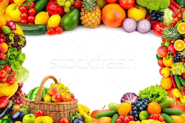 Frame from a variety of vegetables and fruits. Stock photo © serg64