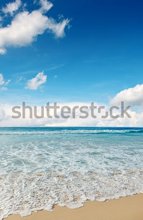 Zee golven blauwe hemel wolken achtergrond schoonheid Stockfoto © Serg64
