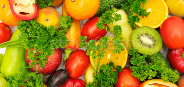 Fraîches fruits légumes isolé blanche fond Photo stock © Serg64