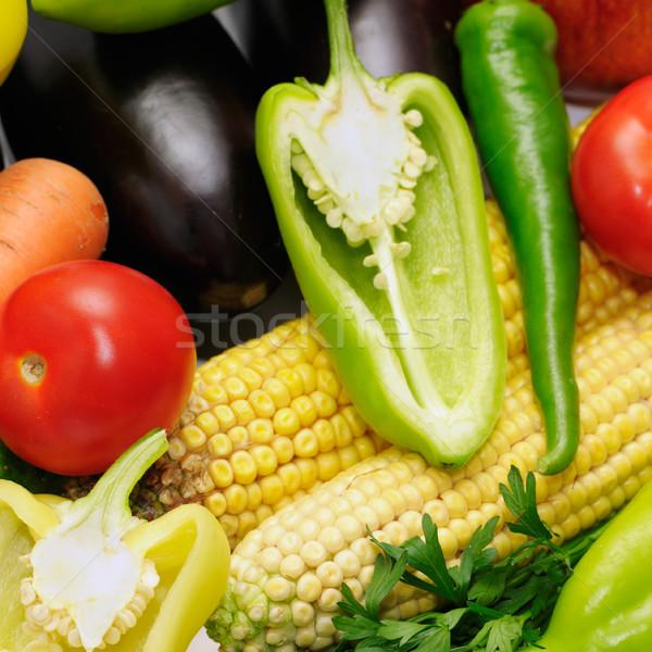 Sebze arka plan yeşil pazar fotoğraf domates Stok fotoğraf © Serg64