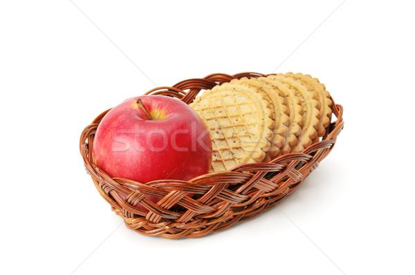 Appels biscuit mand geïsoleerd witte voedsel Stockfoto © Serg64