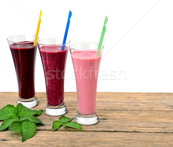 Smoothies made with fresh berries: blackberries, raspberries, re Stock photo © serg64