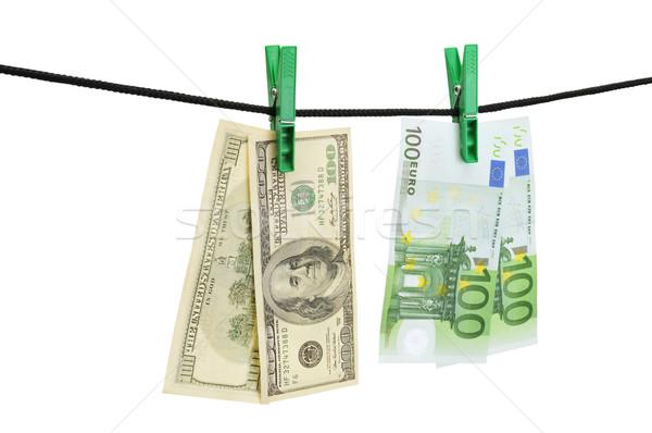 Dollar euro opknoping string geïsoleerd witte Stockfoto © Serg64