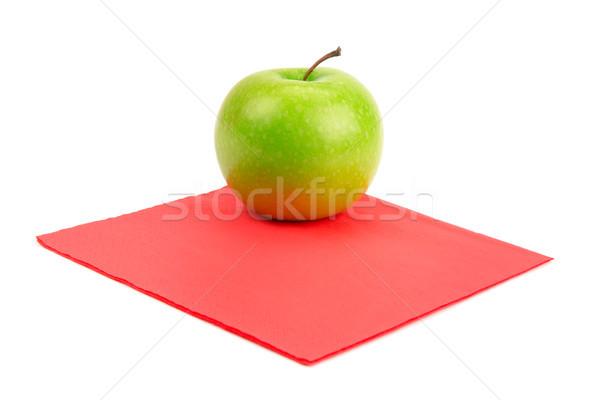 Stock fotó: Zöld · alma · piros · szalvéta · izolált · fehér