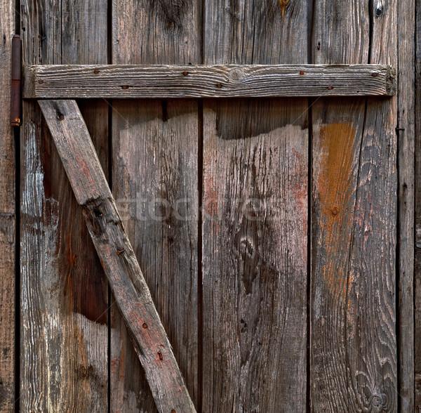 Stock fotó: Kopott · fából · készült · ajtó · sérült · fa · hasznos