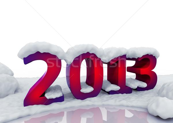 2013 new  year digits under snow Stock photo © serge001