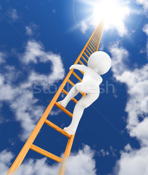 Ladder hemel 3D karakter klimmen 3d render Stockfoto © serge001