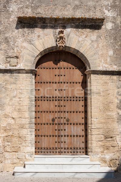 Vecchio legno chiesa porta metal pietra Foto d'archivio © serpla