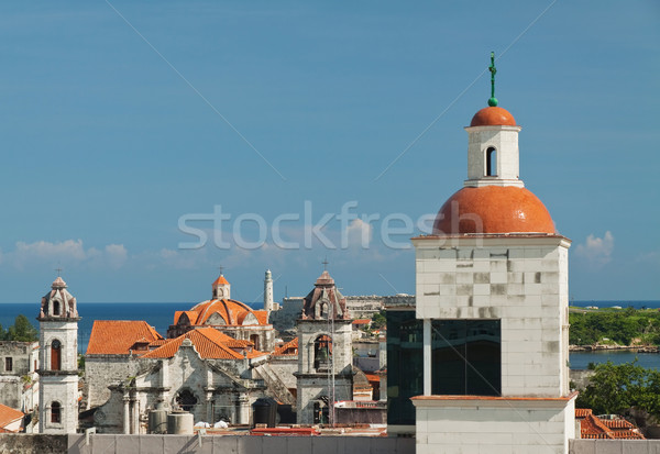 View of Havana historic center with lighthouse in El Morro Castl Stock photo © serpla