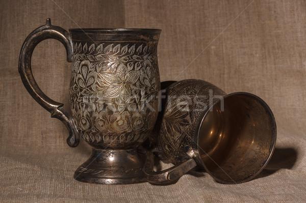 Due vecchio argento vino vetro metal Foto d'archivio © serpla