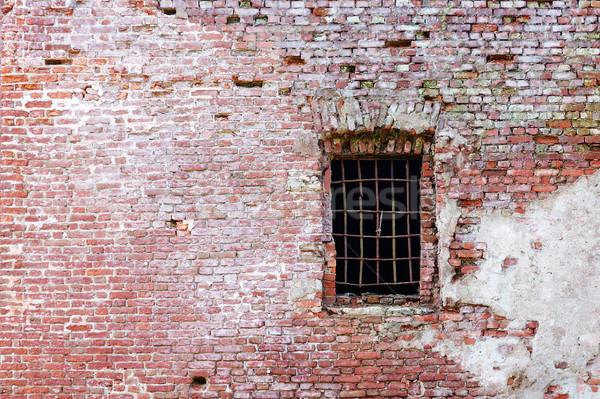 Vecchio muro di mattoni finestra texture pietra nero Foto d'archivio © serpla