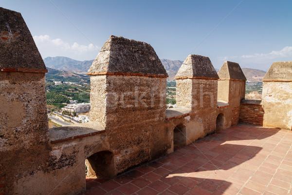 Top torre medievale castello cielo costruzione Foto d'archivio © serpla