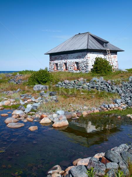 Pietra isola arcipelago settentrionale Russia acqua Foto d'archivio © serpla