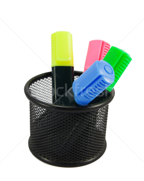 Four colored markers in desk organizer  Stock photo © serpla