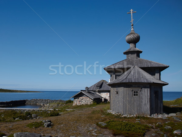 A wooden church in honor of St. Andrew on Bolshoi Zayatsky islan Stock photo © serpla