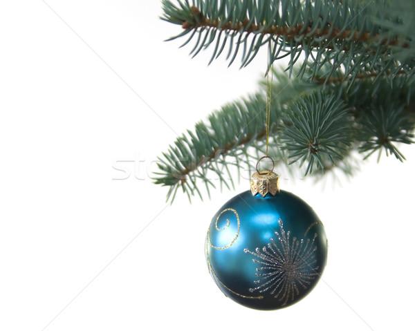 Blu albero di natale palla poco profondo bianco Foto d'archivio © serpla