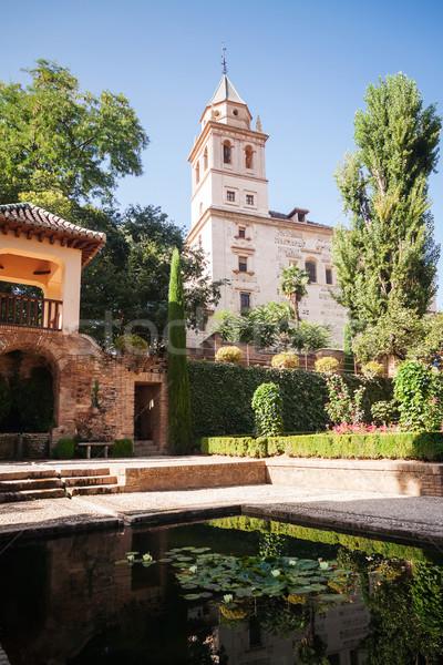 Chiesa giardini torre alhambra acqua verde Foto d'archivio © serpla