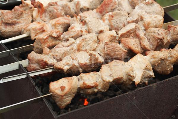 Metà kebab processo cottura party fuoco Foto d'archivio © serpla
