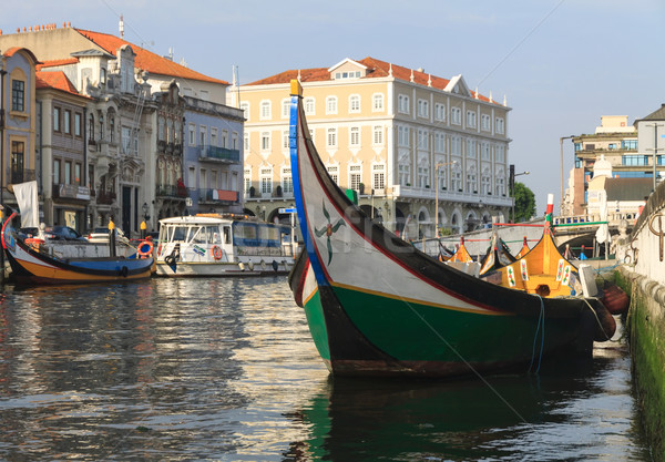 Canal in Aveiro city with boats, Portugal  Stock photo © serpla