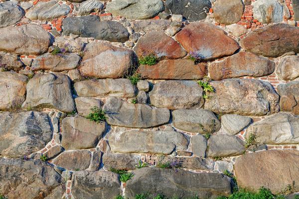Vecchio pietra muro di mattoni texture nero retro Foto d'archivio © serpla
