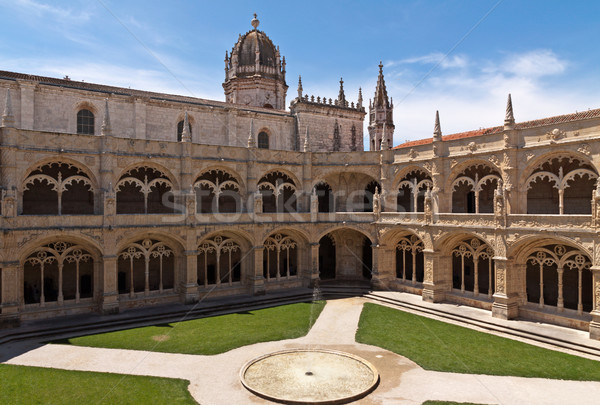 Court with fountain in Jeronimos monastery, Belem. Lisbon Stock photo © serpla