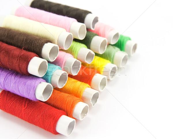 Colore thread bianco panno cucire cotone Foto d'archivio © serpla