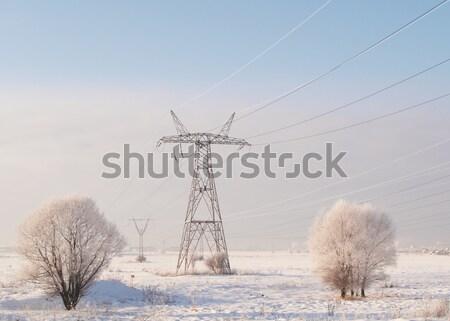 Elettrici torre freddo inverno giorno cielo Foto d'archivio © serpla