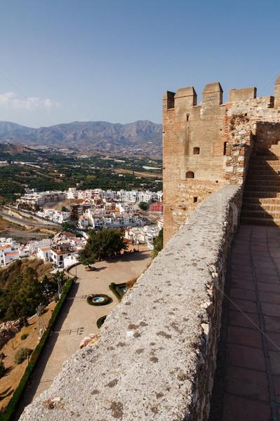 Vue vallée tour médiévale château ciel Photo stock © serpla