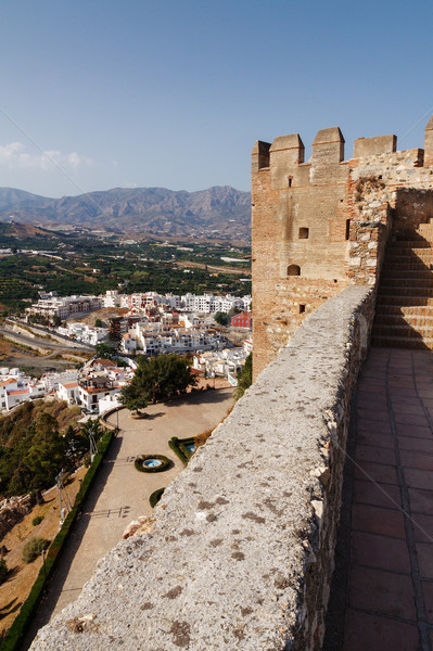 Vista valle torre medieval castillo cielo Foto stock © serpla