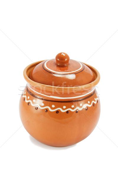 Rosolare ciotola isolato bianco utensile da cucina argilla Foto d'archivio © serpla