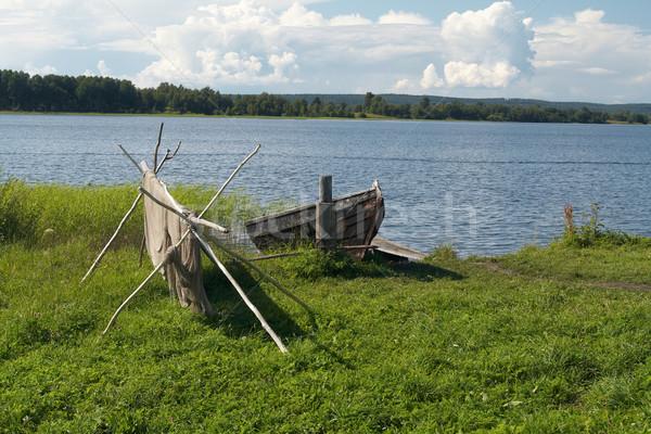 古い 木製 ボート 漁網 湖 北 ストックフォト © serpla
