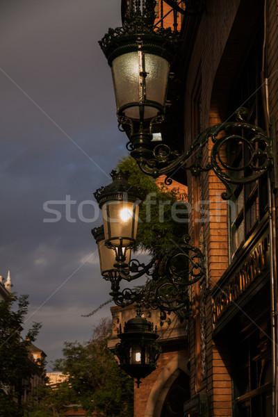 Notte luce strada metal Foto d'archivio © serpla