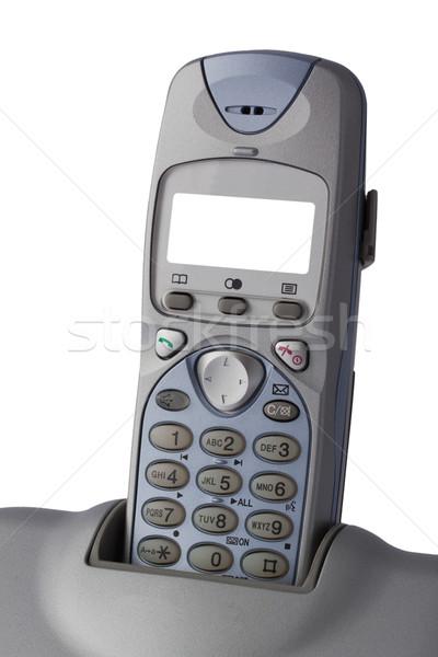 Primo piano wireless telefono schermo isolato bianco Foto d'archivio © serpla