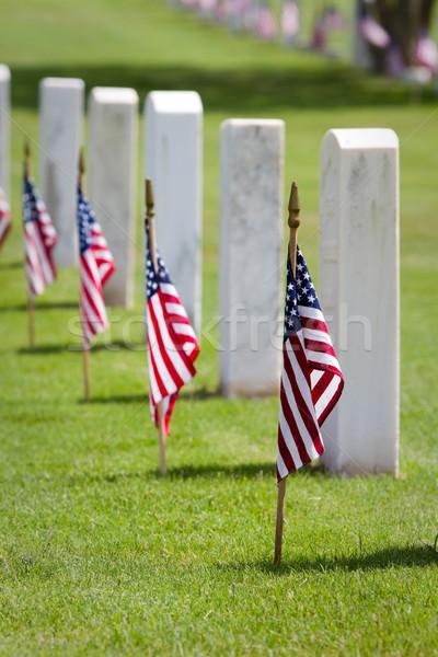 день кладбище американский флагами Соединенные Штаты смерти Сток-фото © sframe