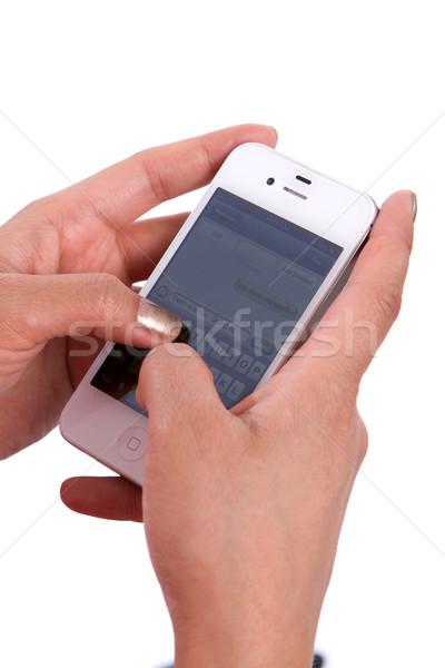 Сток-фото: рук · телефон · сотового · телефона · сообщение