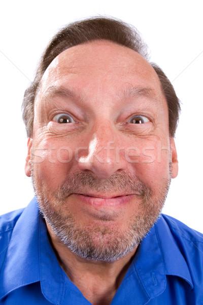Dom grappig senior man volwassen glimlacht Stockfoto © sframe
