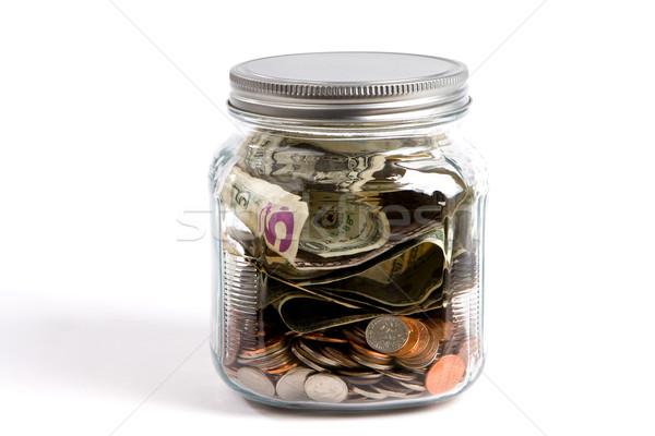 деньги банку стекла США долларов монетами Сток-фото © sframe
