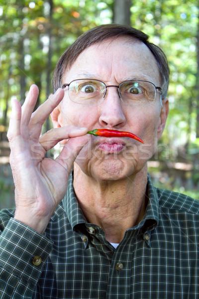 человека чили перец усы старший взрослый Сток-фото © sframe