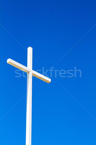 крест Blue Sky белый стали христианской из Сток-фото © sframe