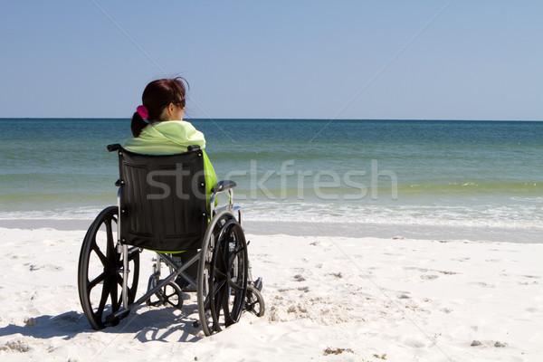 женщину коляске пляж инвалидов только Сток-фото © sframe