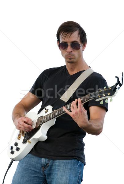 男 演奏 ギター 男性 ミュージシャン 白 ストックフォト © sframe