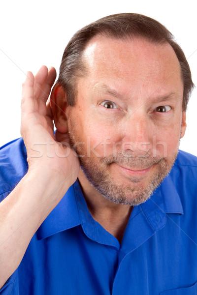 シニア 男 損失 カップ 手 耳 ストックフォト © sframe