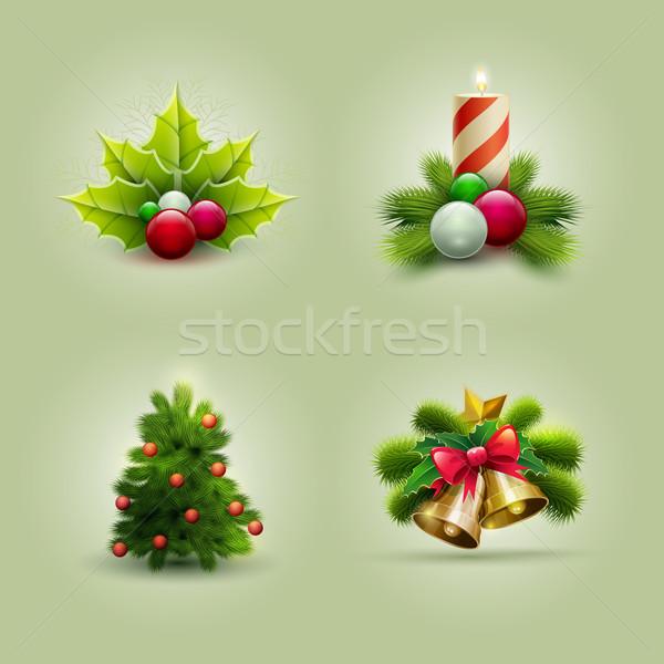クリスマス セット ベクトル 飾り オブジェクト ストックフォト © sgursozlu