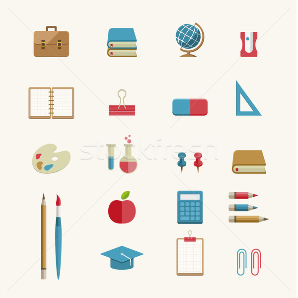 Education and School Supplies icon set Stock photo © sgursozlu