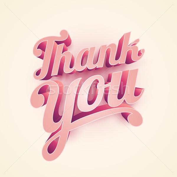 Köszönjük tipográfiai terv vektor 3D kéz Stock fotó © sgursozlu