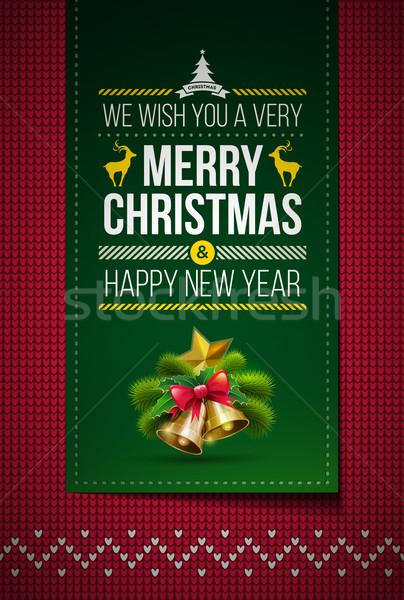 Knitted Merry Christmas Stock photo © sgursozlu