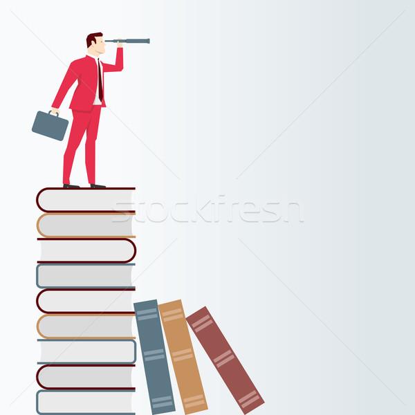 Empresário telescópio livros vetor negócio Foto stock © sgursozlu