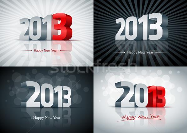 ストックフォト: 2013 · 明けましておめでとうございます · セット · カード · 要素