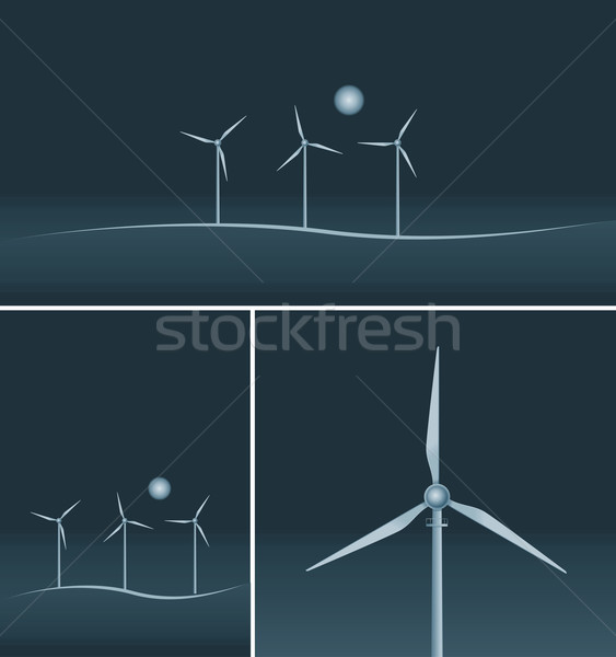 Wind Turbines on black background. Stock photo © sgursozlu