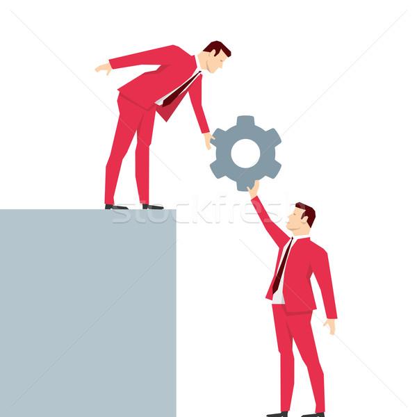 Foto stock: Vermelho · terno · empresário · trabalho · em · equipe · homem · ajudar